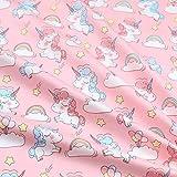 Tela de retazos para coser o decorar cunas de bebé con diseño de unicornio y estrellas, blanco, 40 x 50 cm