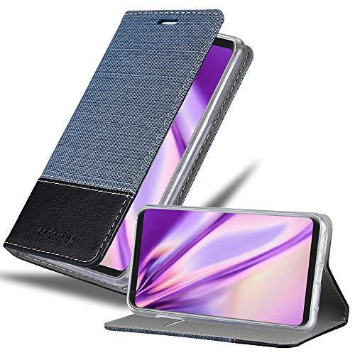 Cadorabo Hülle für LG V30 - Hülle in DUNKEL BLAU SCHWARZ – Handyhülle mit Standfunktion & Kartenfach im Stoff Design - Case Cover Schutzhülle Etui Tasche Book