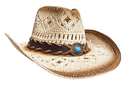 Running Bear Cowboyhut Strohhut Beige/Braun mit ausgefallenem Hutband Leicht Unisex Einheitsgröße