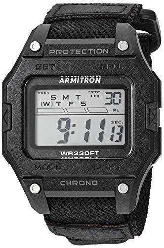 Armitron Sport Reloj deportivo de cuarzo para hombre con correa de nailon, negro, 22 (Modelo: 40/8461BLK)
