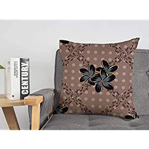 Decorative Linen Throw Pillow Cover Colorful Silk Scarf Plumeria Flowers Pink Gray Nature Abstraction Arabian Colored Cosmos Damask Comfortabel Cushion Covers 18 x 18 Inches for Couch Chair