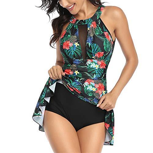 ZHUQI Sexy Damen Badeanzug Hängen Hals Strand Surfen Sexy Schwimmkleid Strandurlaub Freizeit Strand Schwimmkleidung Badeanzug Anzug Spitze Sexy Blumen Badeanzughalfter G-Green XXL