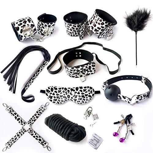 GHD D 10 Juegos de ataduras de Cuero versátiles para Damas y Parejas (Estampado Leopardo Plateado)