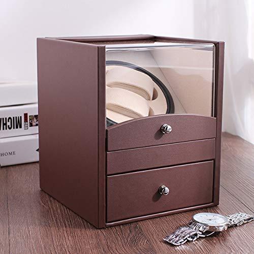 SGSG Doppelter automatischer Uhrenbeweger, rotierende Uhrengehäuse aus PU-Leder mit Aufbewahrungsbox für Schubladen mit langlebiger Haltbarkeit
