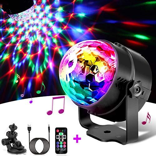 Luces de fiesta Batería Disco Light,SUAVER USB Rotating Disco Bola Luz activada sonido LED RGB Luces para escenario Luz DJ para fiesta Bar Club Party Luz para decoración(con control remoto)