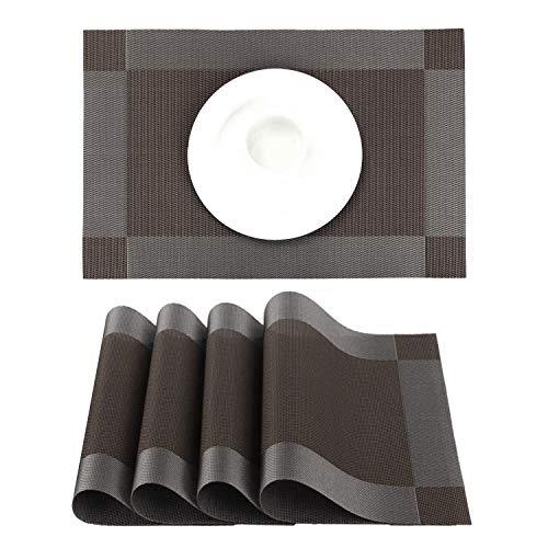 YOCOO Manteles Individuales Lavables Salvamanteles Individuales PVC Antideslizantes Resistente al Calor Juego de 4 para la Mesa de...