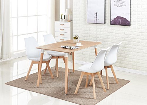 P&N Homewares® Lorenzo Dining Table and 4 Chairs Set Retro and Modern Scandinavian Dining Set White Black Grey Red Pink Green Chairs with Wood Brown Dining Table (WHITE)