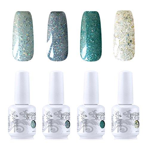 Vishine Vernis à ongles Gel Semi-permanent Soak Off UV LED Gelpolish Manucure Kit Lot de 4 Couleurs C255