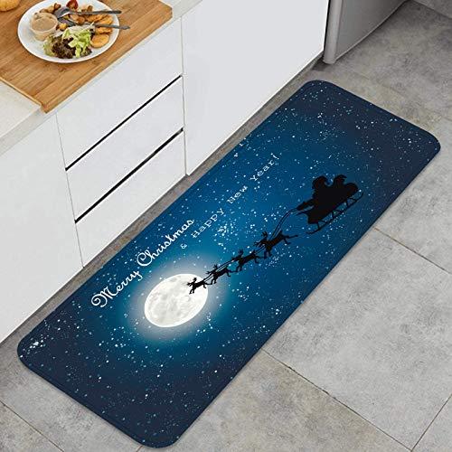 ZHIMI Washable Kitchen Mats,santa claus flying sledge reindeer night,Non-Slip Kitchen Rugs Stain Resistant Doormat Carpet Floor Mat 45 x 120cm