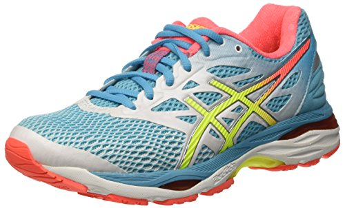 Asics Gel-Cumulus 18 - Scarpe Running Donna, Multicolore (White/Safety Yellow/Blue Atoll), 38