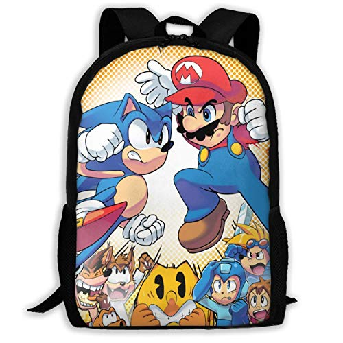 DJNGN Sonic Super Ma-ri-o Adult Travel Backpack Fits 15.6 Inch Laptop Backpacks School College Bag Casual Rucksack for Men & Women