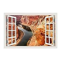 YIBOKANG 3D風景ウォールスティッククリエイティブエフェクトゴービビーチ砂漠偽窓枠画像家のリビングルームベッドルーム環境ポリ塩化ビニールの装飾ウォールステッカー (Color : 1)