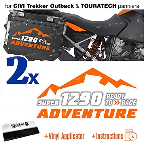 2 pegatinas compatibles con KTM 1290 Super Adventure Touratech Givi (naranja-blanco)
