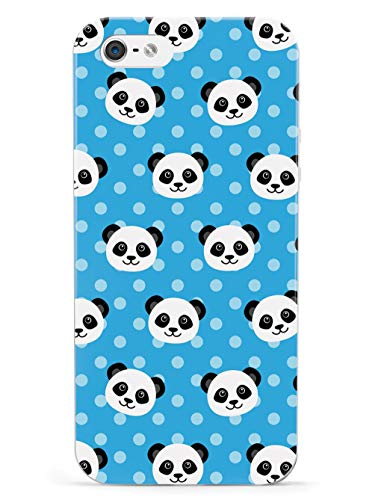 Inspired Cases - 3D Textured iPhone 5/5s/5SE Case - Rubber Bumper Cover - Protective Phone Case for Apple iPhone 5/5s/5SE - Cute Panda Pattern - Blue Polka Dots
