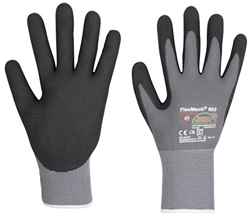 3 Paar KCL Arbeitshandschuhe FlexMech EN388 - Schutzhandschuhe Mechanikerhandschuhe für feuchte ölige Arbeiten und mechanische Risiken, Größe: 7 (S)