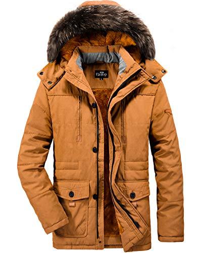 ELETOP Herren Daunenjacke Winddicht und Wasserdicht Verdicken Winter Wärmemantel mit Abnehmbarer Kapuze Lässige Outwear Mantel Orange 7176-XL