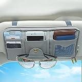 Car Sun Visor Organizer, Accmor Auto Interior Accessories Storage Pocket Truck Organizer Pouch Holder Tissue Case Bag for Card License Registration, Sunglass Holder with Multi-Pocket Net Zipper (Grey)