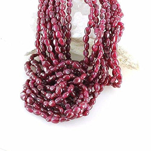 World Wide Gems Cuentas de piedras preciosas de rubí auténticas