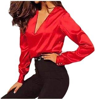 HEFASDM المرأة البلوز الرقبة V خياطة نقية اللون زر أسفل أزياء قميص قمم