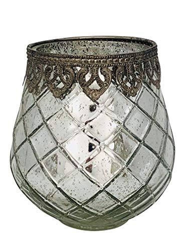 ecosoul theelichthouder windlicht crackle glas zilver spiegelend buikig met metalen rand Kerstmis