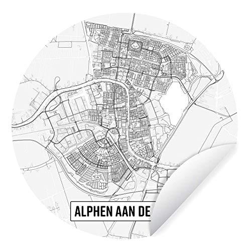 Muursticker Top 50 Nederlande uitsneden - Stadskaart Alphen aan de Rijn - Ø 50 cm - rond schilderij - behangcirkel - muurcirkel - wooncirkel - zelfklevend & rond uitgesneden - zelfklevende behangsticker