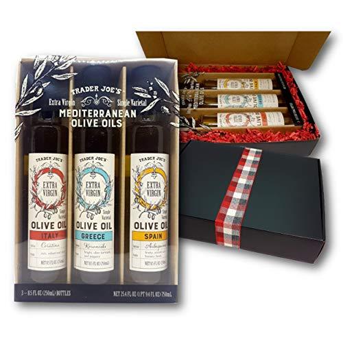Trader Joe's Mediterranean Olive Oils Extra Virgin Single Varietal,3-Variety, 3 Origins Gift Pack