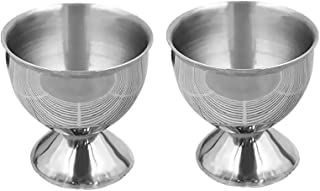 Prettyia 2pcs Kitchen Stainless Steel Egg Cup Egg Holder Tabletop Cup Storage Silver