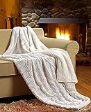 Tache White Ivory Super Soft Warm Polar Faux Fur with Sherpa Throw Blanket 50'x60'