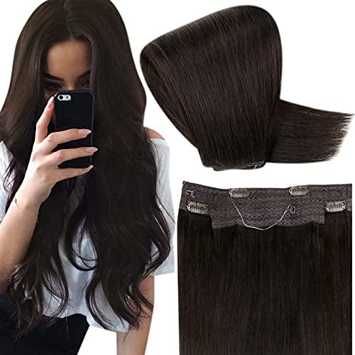 Hetto Fil Extension de Cheveux Brun Le Plus Foncé,Fil Cheveux Naturel Humain Lisse12 Pouces Invisible Wire on Hair for Women Remy Easy Fit Human Hair