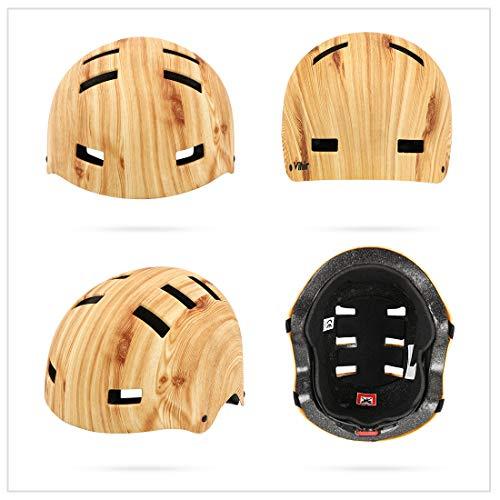 Vihir Erwachsene Fahrradhelm Skaterhelm E-Scooter E-Roller BMX Fahradhelm Herren Damen Sport Helm für Männer & Frauen Schwarz Weiß Dunkelgrau (L/XL 56-62CM, Holzmaserung) - 3