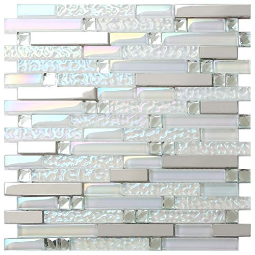 New Design TST Glass Metal Tile Iridescent White Glass Silver Mirror Stainless Steel Blends Interlocking Strip Wall Tiles TSTNB01 (1 Sample 12x12 Inches)