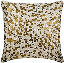 Luxury Gold Decorative Cushion Covers 40x40 cm, Silk Throw Pillow Covers, Circles & Dots, Dotted, Swirls, Abstract, Mother...