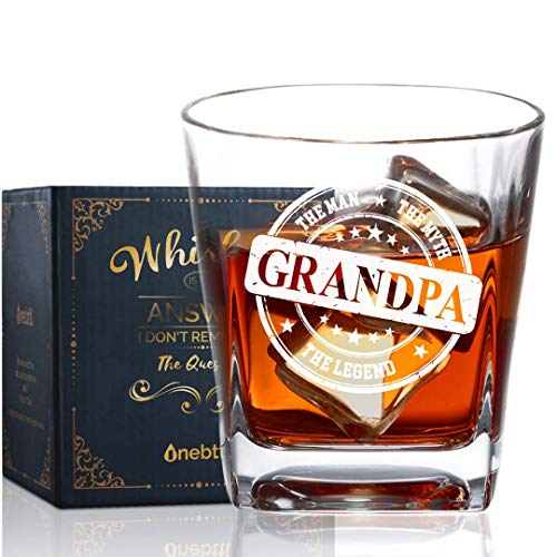 Grandpa Gifts Whiskey Glass, Old Fashioned Glass Best Gifts for Grandfather Papa Opa for Christmas/Birthday Fathers Day Best for Bourbon Scotch Vodka - Man Myth Legend