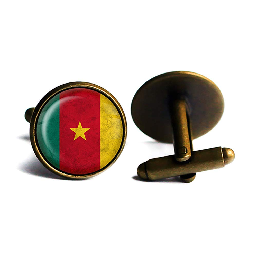 African Nation New sales Cameroon Flag Bronze Antique Ranking TOP13 Cufflinks