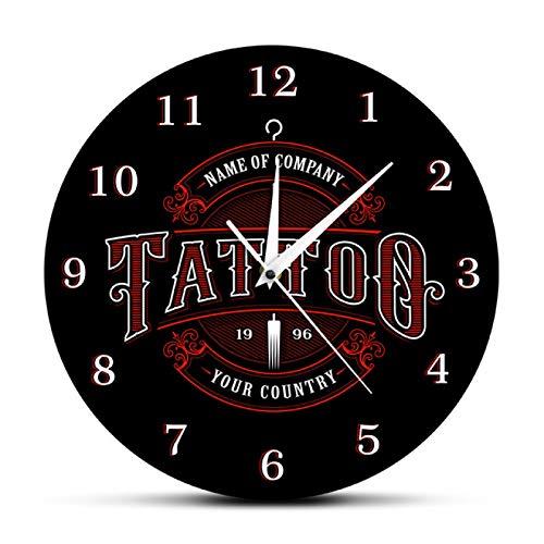 Reloj de Pared Tiempo de Tatuaje Tienda de tintas Tatuajes Pistola Artista Regalo Tienda de Arte Corporal Estudio de Tatuajes Logotipo Nombre de la Empresa Moderno