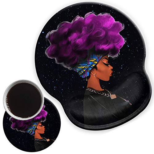 Ergonomic Mouse Pad with Gel Wrist Support for Home Office Efficient Working, Non-Slip Comfortable Mousepad for Easy Typing Pain Relief African Girl