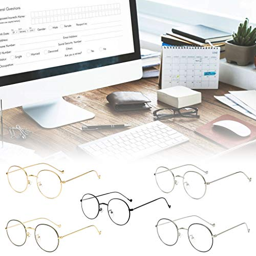 S-TROUBLE Neue Metalldünne runde Rahmenbrille Studenten Trend Unisex Optische Brille Anti-Blu-ray Flachspiegel