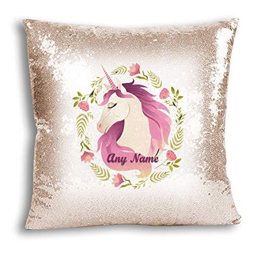 VVM Tech - Funda de cojín personalizable con diseño de unicornio y lentejuelas, regalo para Navidad, cumpleaños, decoración del hogar [40 x 40 cm], champán, Add a Pillow Insert Also