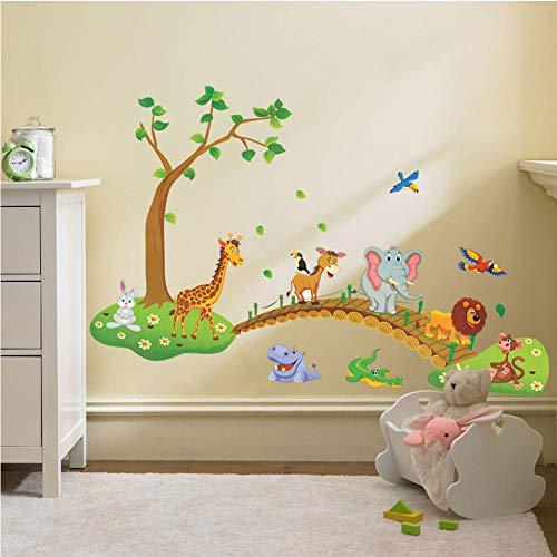 3D cartoon jungle wilde dier boom brug leeuw giraffe olifant vogels bloemen muursticker voor kinderkamer woonkamer 60 * 90cm