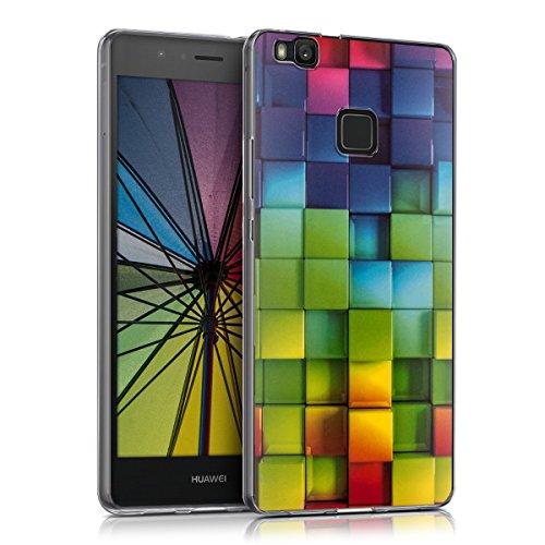 kwmobile Hülle kompatibel mit Huawei P9 Lite - Handyhülle - Handy Case Regenbogen Würfel Mehrfarbig Grün Blau