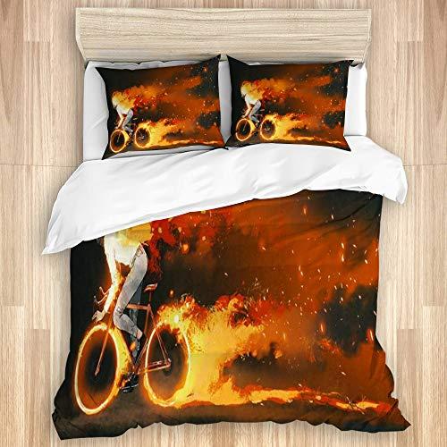 Juego de Funda de Edredón,Pintura naranja Hombre montando bicicleta de montaña Fuego ardiente Gente Deportes Recreación Bi,Microfibra 1 Sábana de Cama 260x240 + 2 Fundas de Almohada 80x50,Super King