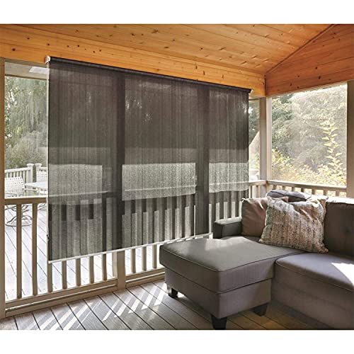 CASTLECREEK Woven Polyethylene Fabric Roll Up 6 x 4 Ft Sun Shade Window Blinds w/ Removable Hand Crank, For Porches, Patio, & RV, Black