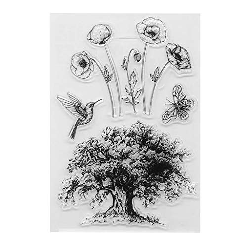 WuLi77 Silikonstempel, Das Baum-Muster Wünscht Silikon Clear Stamps - DIY Stempel Für DIY Album Scrapbooking Fotokarten Dekor