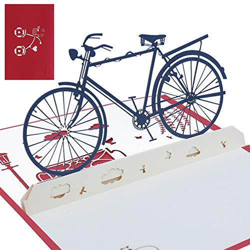 Pop Up 3D Flower Bike Card Gift Card Surprise Card with A Ladies Wheel and Red Flowers Can Be Combined with A Birthday Gift Voucher
