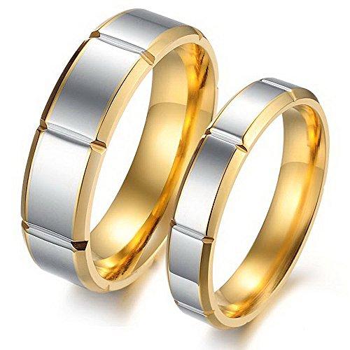 Anillos iSchmuck 1par (2 unidades) de acero inoxidable, plateados, dorados con diseño...