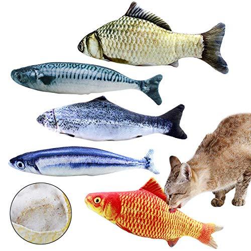 Natuce 5PCS Spielzeug mit Katzenminze, 20CM Fisch Katzenminze Spielzeug, Katze Spielzeug, Simulation Fisch, Katze Interaktive Spielzeug,Haustiere Kissen Kauen Spielzeug Set für Katze/Kitty/Kätzchen