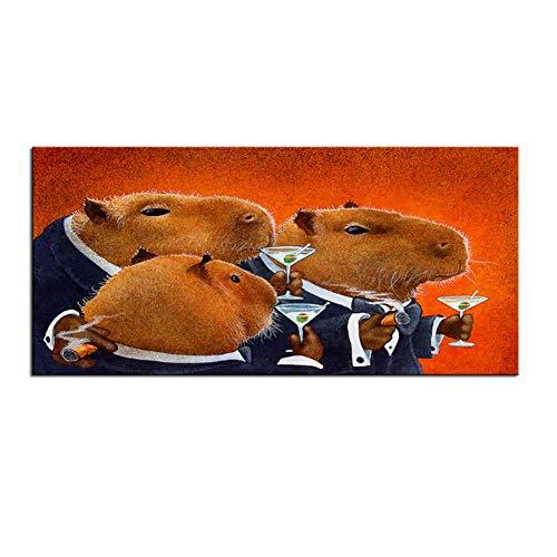 WTHKL Capybara Club Wand Retro strukturierte Malerei Poster gedruckt auf Leinwand für Wandkunst Dekoration -20x40 Zoll ohne Rahmen 1 PCS