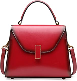 Runhuayou New Fashion Elementary and Various Compact Bills Shoulder Slung Leather Handbags Great for Casual or Many Other Occasions Such (Color : Red)