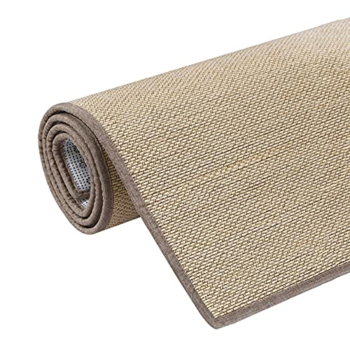 JIAJUAN Natural Bambus Teppich, rutschfest Atmungsaktiv Bodenmatte Mit Stoffrand, Langlebig Wohnzimmer Balkon Teehaus Störungsfrei Fiber Area Rug, Sondergröße (Color : A, Size : 90x180cm)