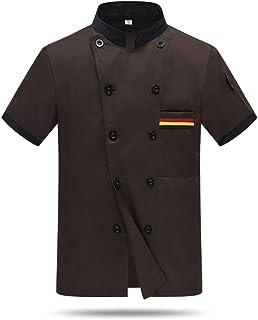 Hommes Femmes Manches Courtes Kochjacke Boulanger Veste Chef Travail Veste Cuisine Hôtel